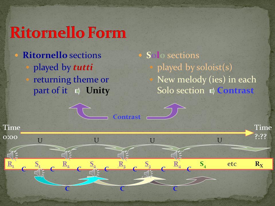 Ritornello Form Ritornello sections played by tutti