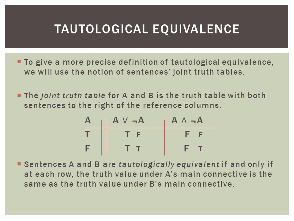 Tautological equivalence