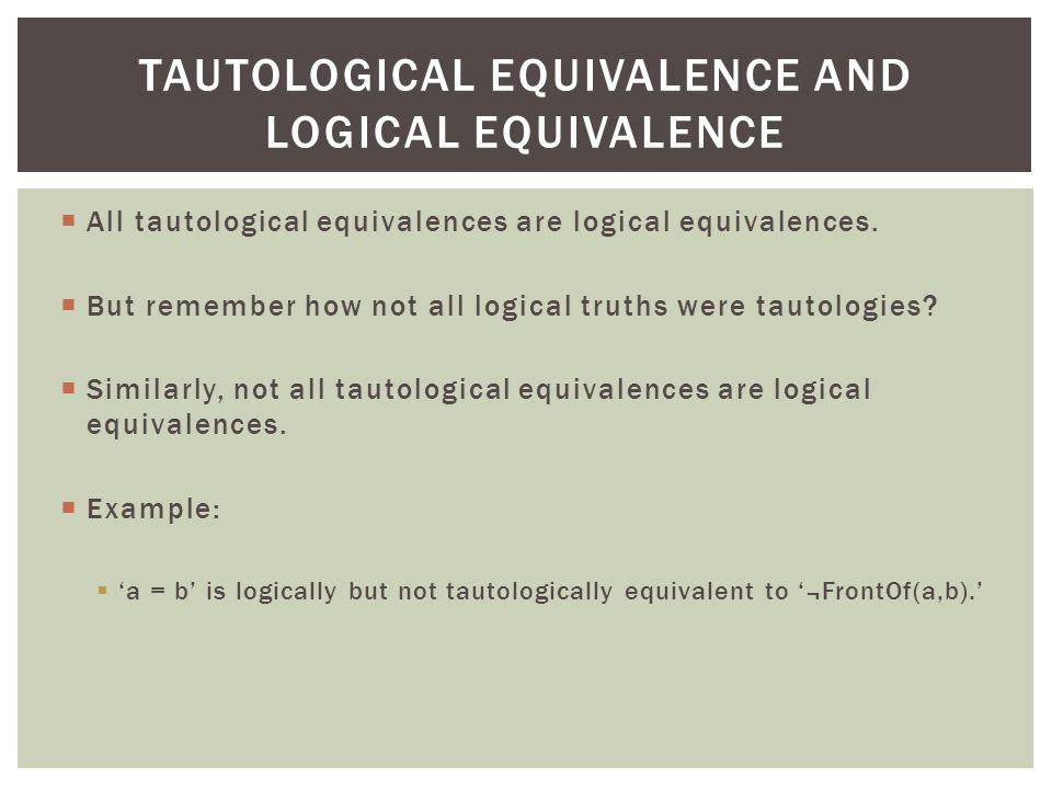 Tautological equivalence and logical equivalence