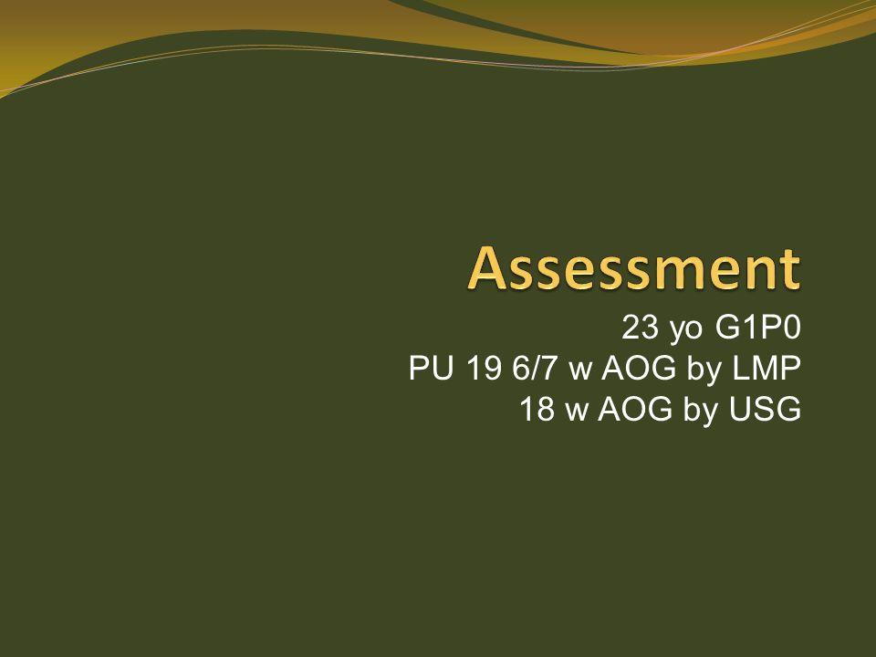 23 yo G1P0 PU 19 6/7 w AOG by LMP 18 w AOG by USG