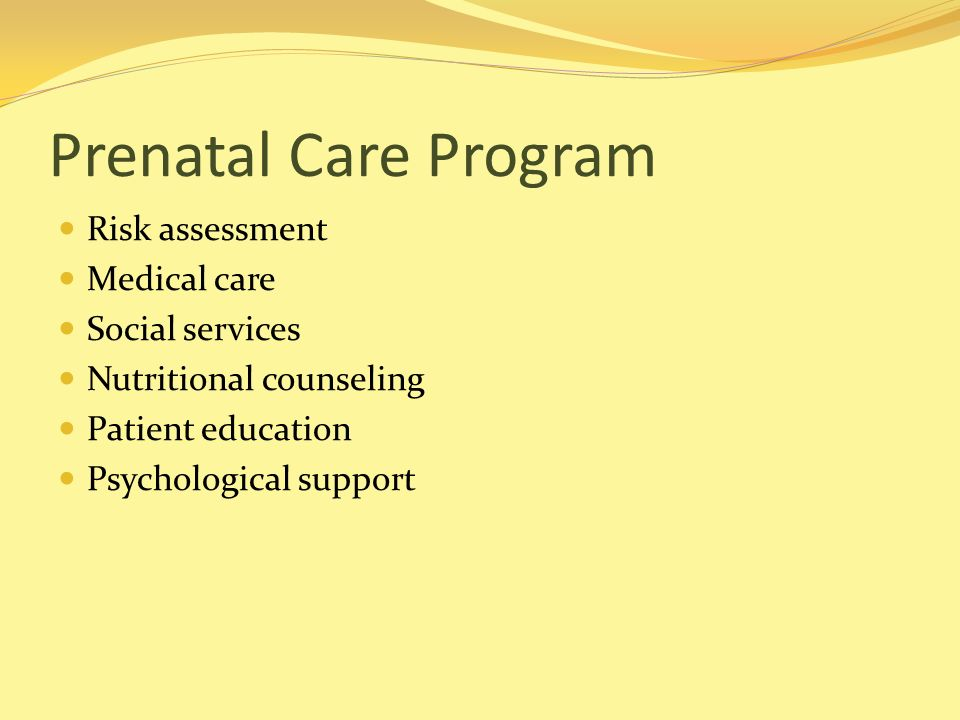 Prenatal Care Program Risk assessment Medical care Social services