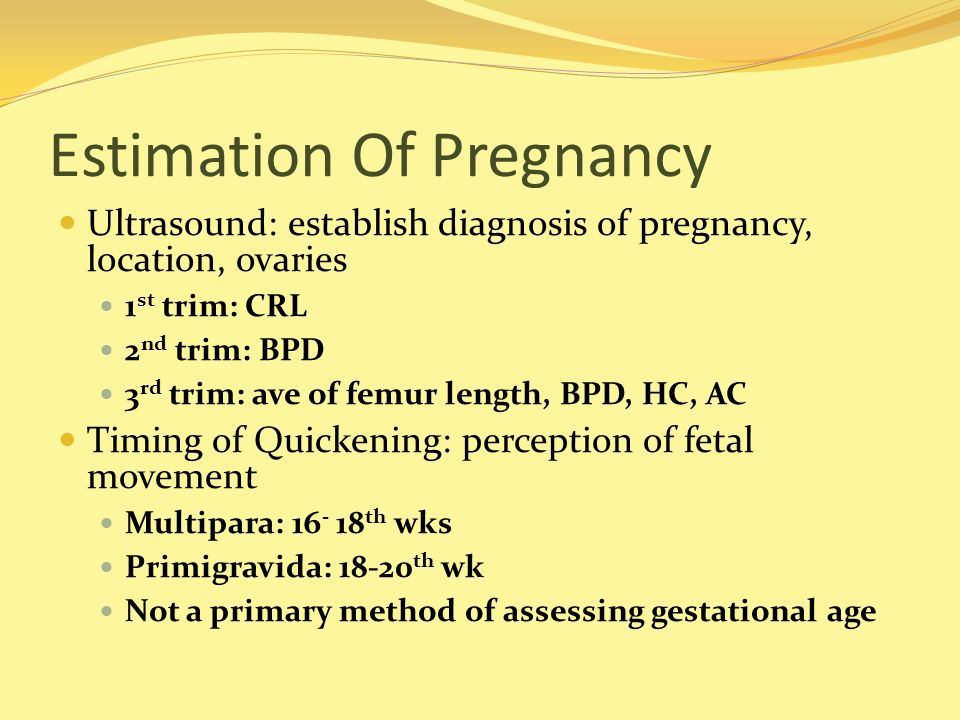 Estimation Of Pregnancy