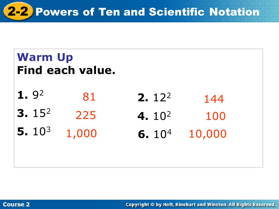 2-2 Powers of Ten and Scientific Notation Warm Up Find each value.