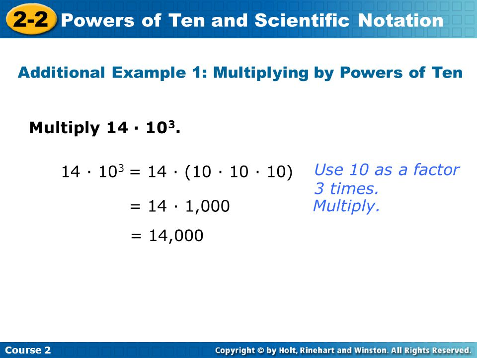 Additional Example 1: Multiplying by Powers of Ten