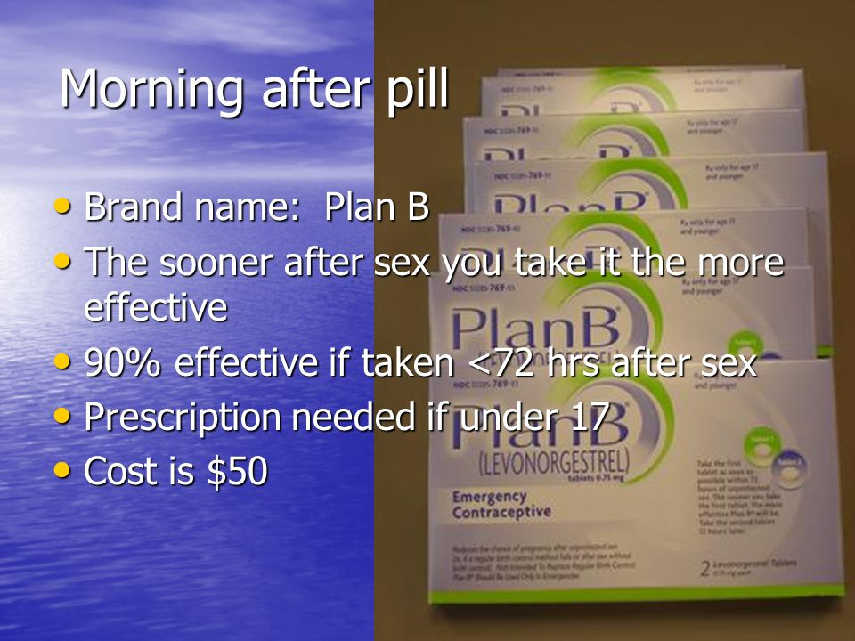 Morning after pill Brand name: Plan B