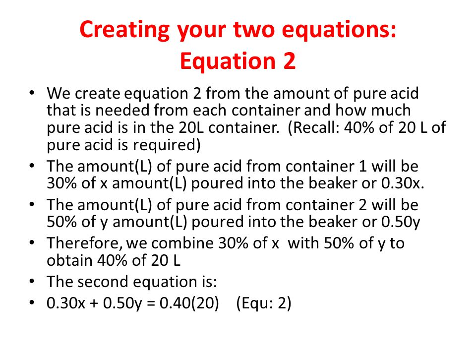 Creating your two equations: Equation 2