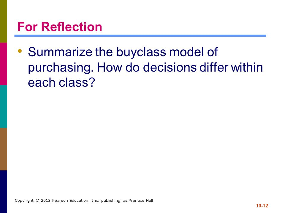 For Reflection Summarize the buyclass model of purchasing. How do decisions differ within each class