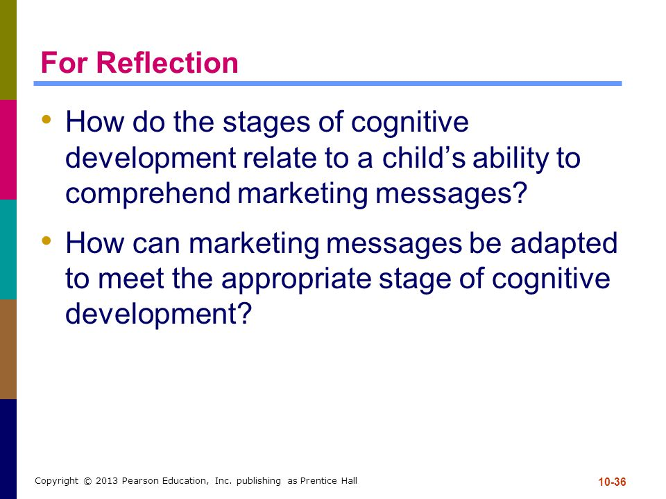 For Reflection How do the stages of cognitive development relate to a child's ability to comprehend marketing messages