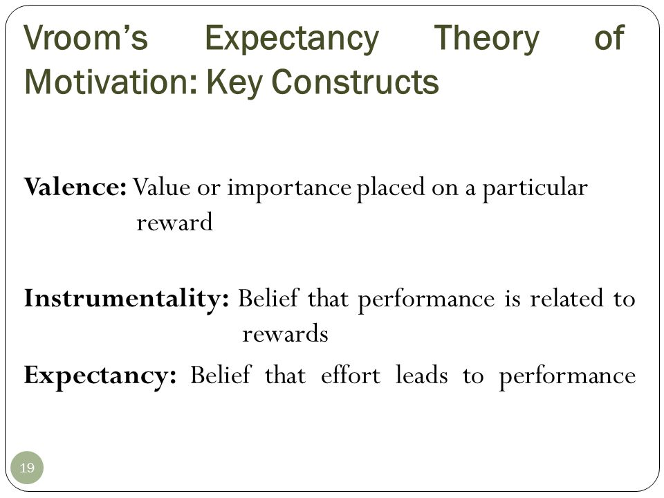 Vroom's Expectancy Theory of Motivation: Key Constructs