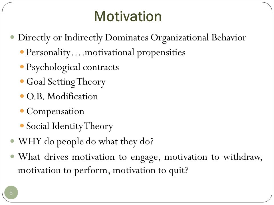 Motivation Directly or Indirectly Dominates Organizational Behavior