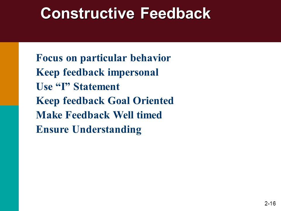 Constructive Feedback