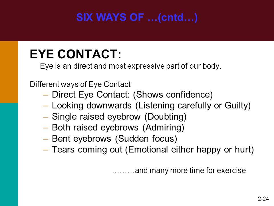 EYE CONTACT: SIX WAYS OF …(cntd…)