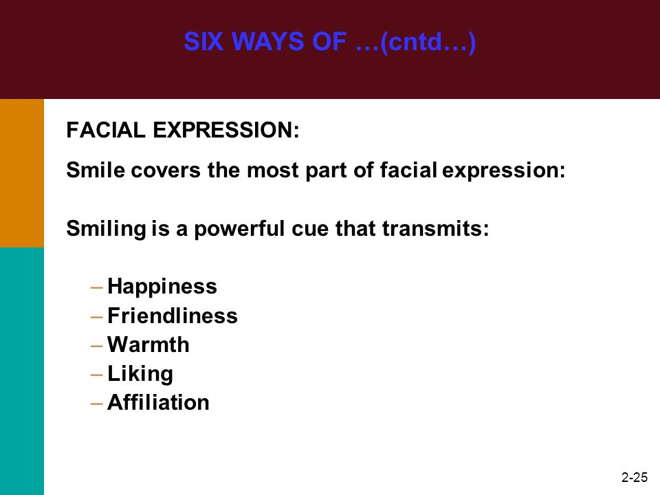 SIX WAYS OF …(cntd…) FACIAL EXPRESSION: