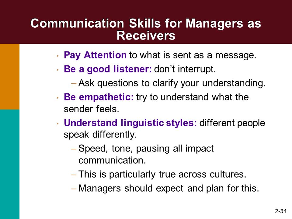 Communication Skills for Managers as Receivers