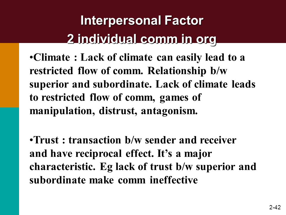 Interpersonal Factor 2 individual comm in org