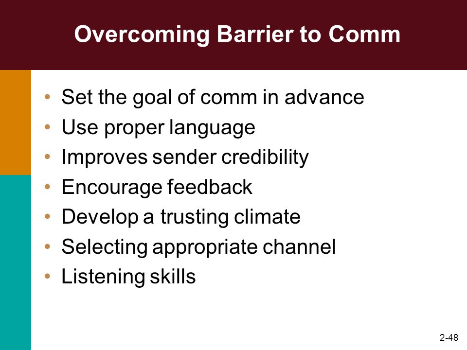 Overcoming Barrier to Comm