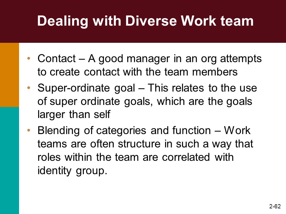 Dealing with Diverse Work team