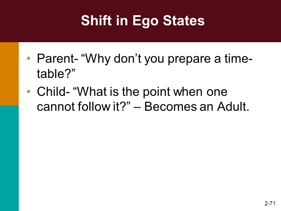Shift in Ego States Parent- Why don't you prepare a time-table
