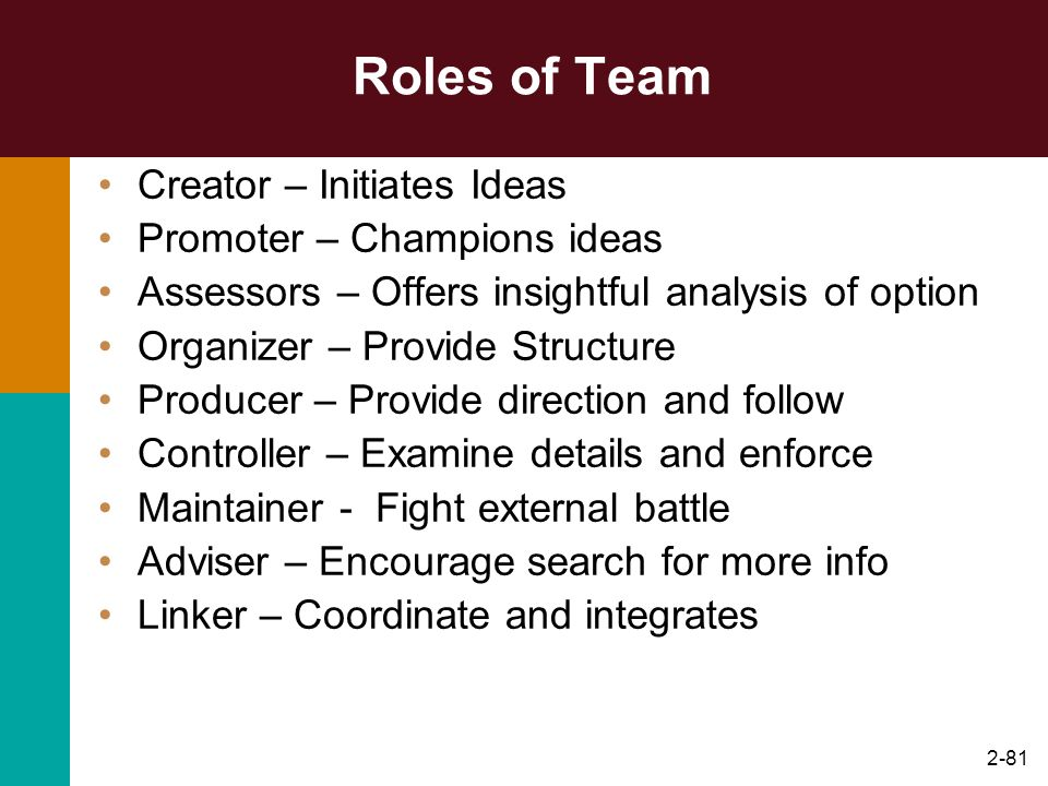 Roles of Team Creator – Initiates Ideas Promoter – Champions ideas