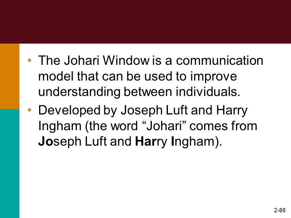 The Johari Window is a communication model that can be used to improve understanding between individuals.