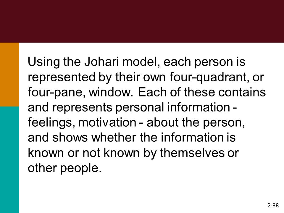 Using the Johari model, each person is represented by their own four-quadrant, or four-pane, window.