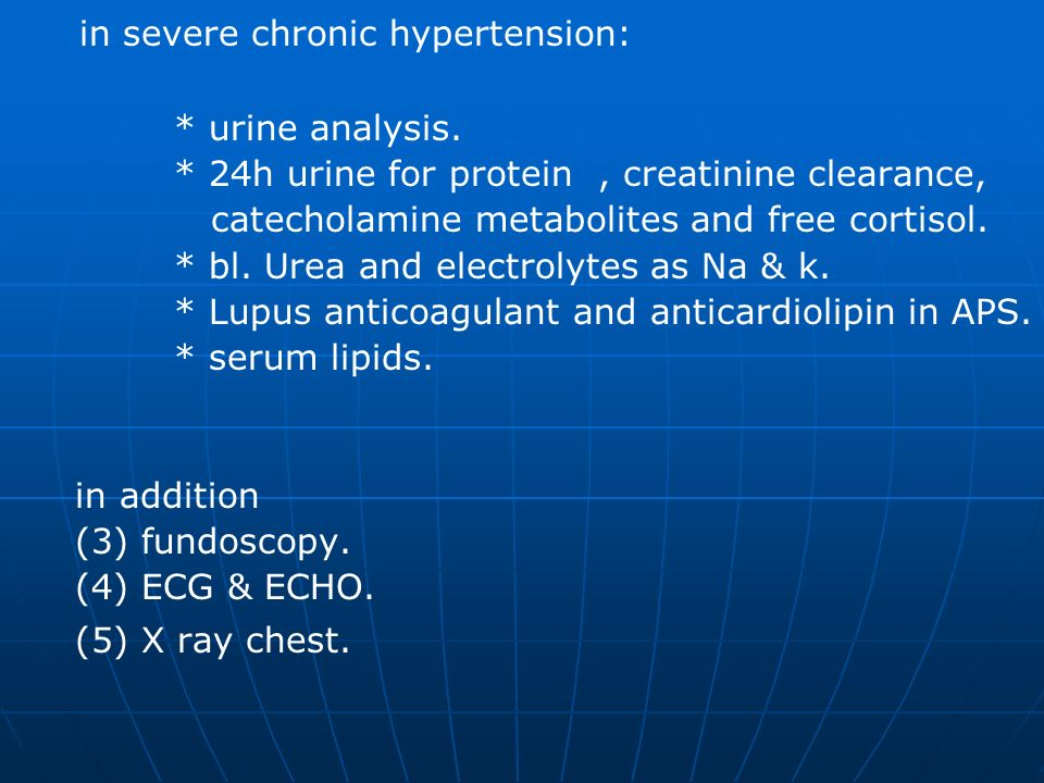 in severe chronic hypertension:
