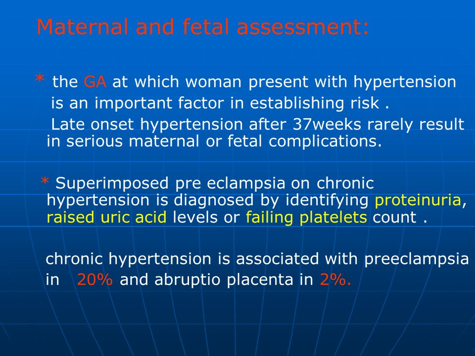 Maternal and fetal assessment: