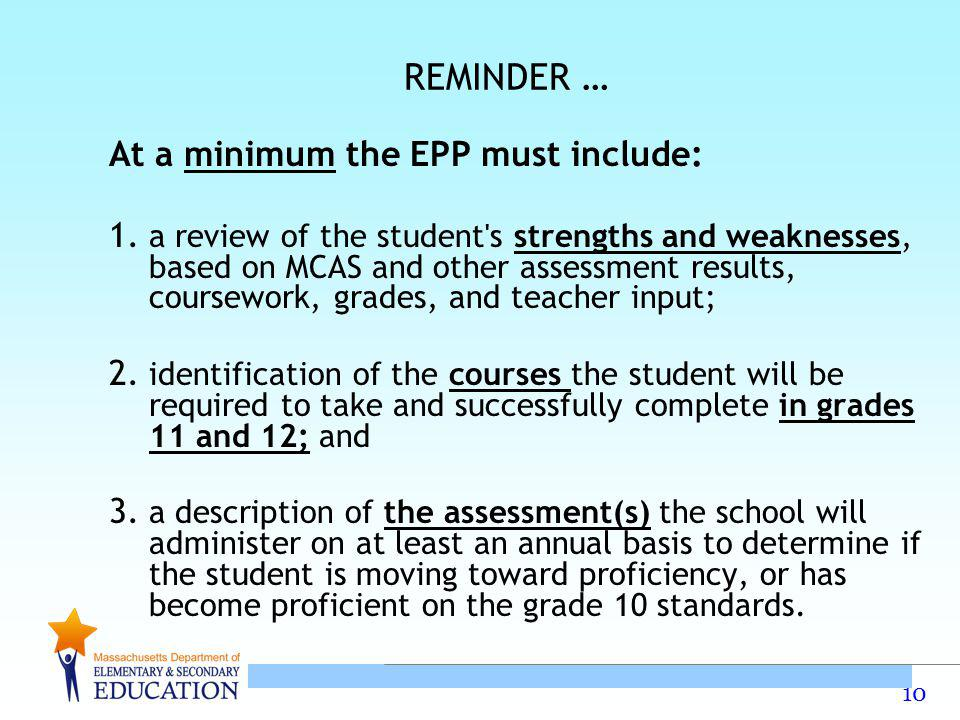 REMINDER … At a minimum the EPP must include: