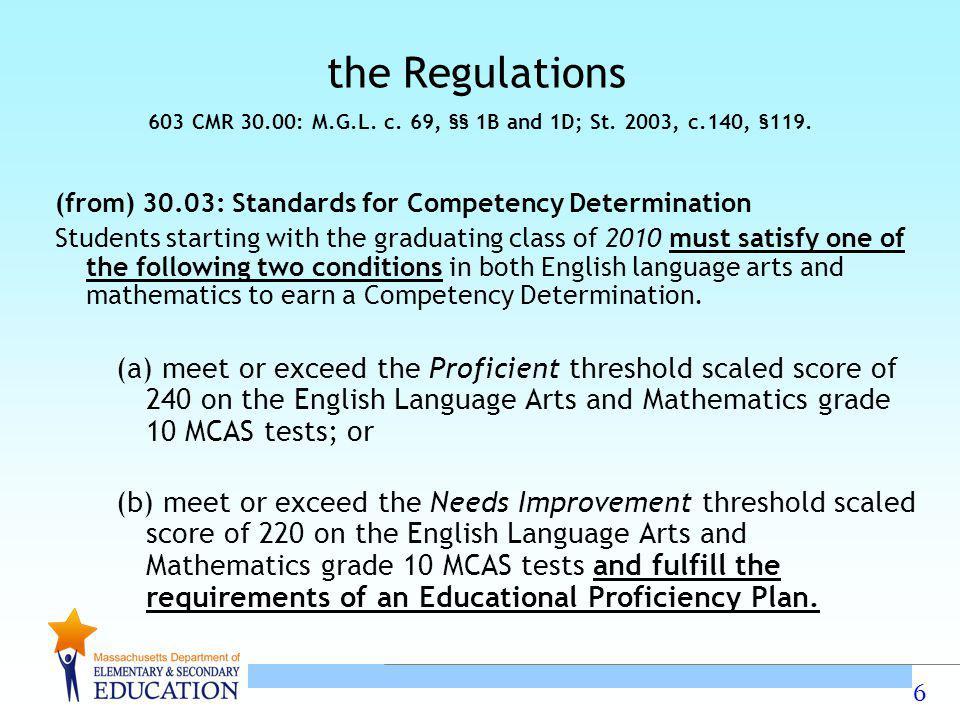 603 CMR 30.00: M.G.L. c. 69, §§ 1B and 1D; St. 2003, c.140, §119.