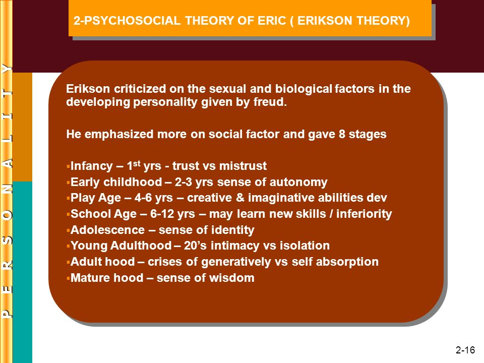 P E R S O N A L I T Y 2-PSYCHOSOCIAL THEORY OF ERIC ( ERIKSON THEORY)