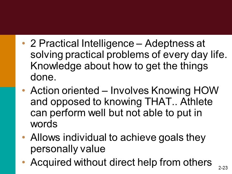 2 Practical Intelligence – Adeptness at solving practical problems of every day life. Knowledge about how to get the things done.