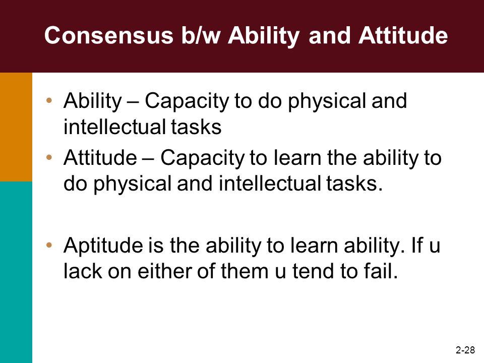 Consensus b/w Ability and Attitude