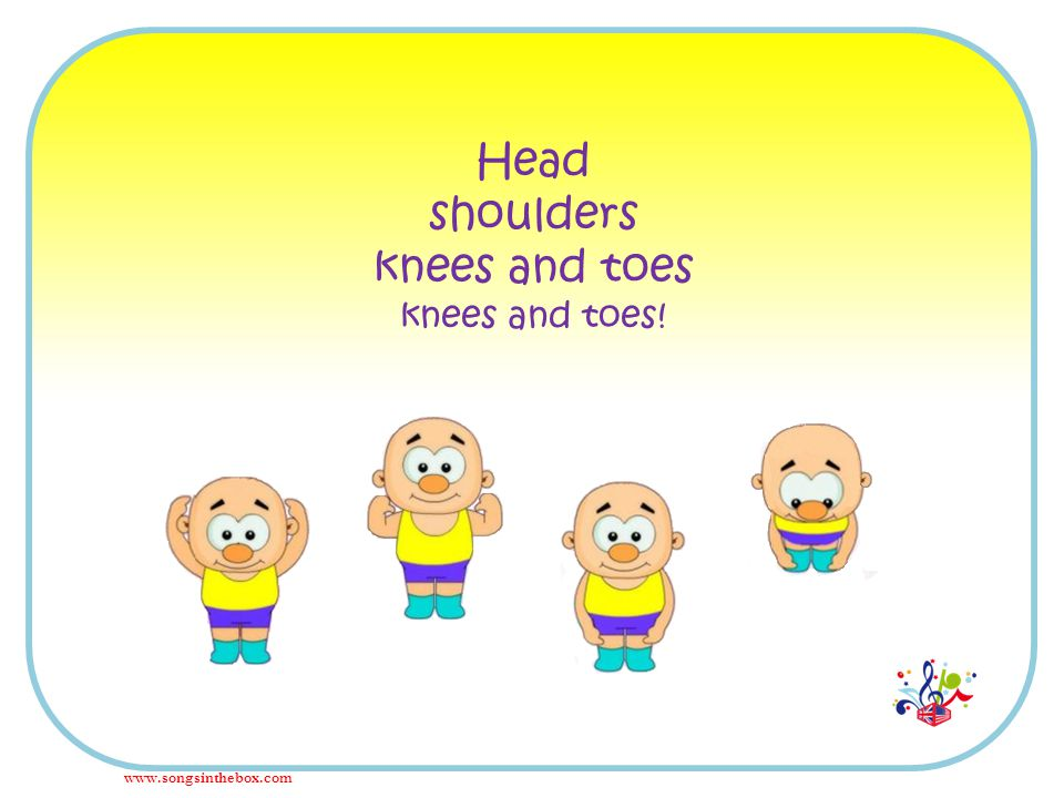 Head shoulders knees and toes knees and toes! www.songsinthebox.com