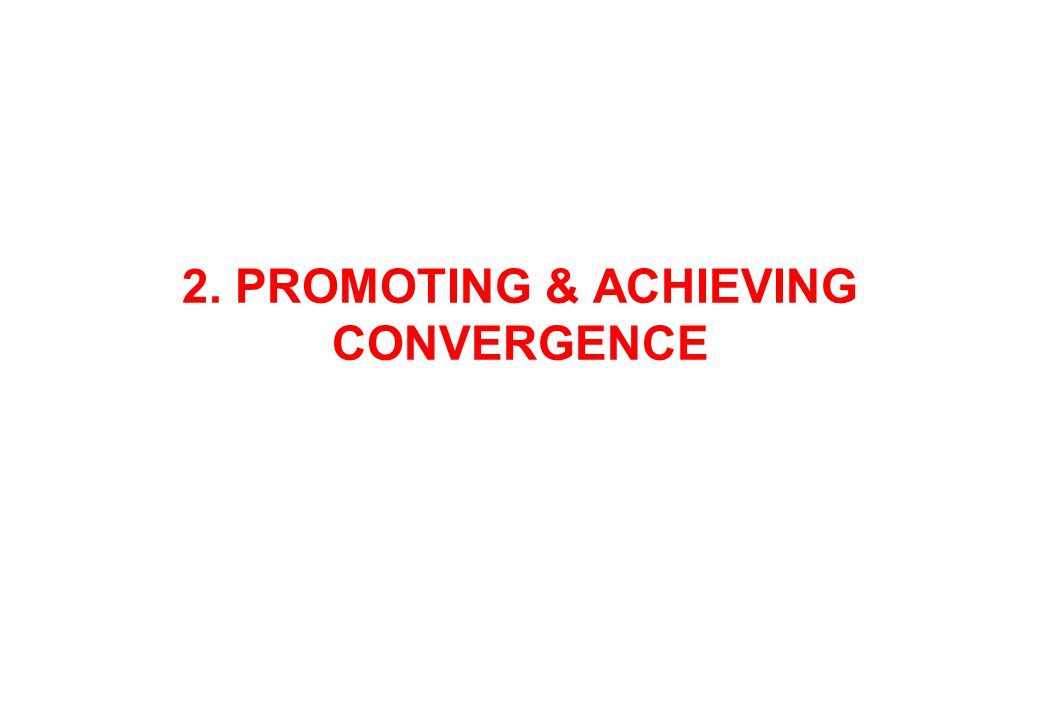 2. PROMOTING & ACHIEVING CONVERGENCE
