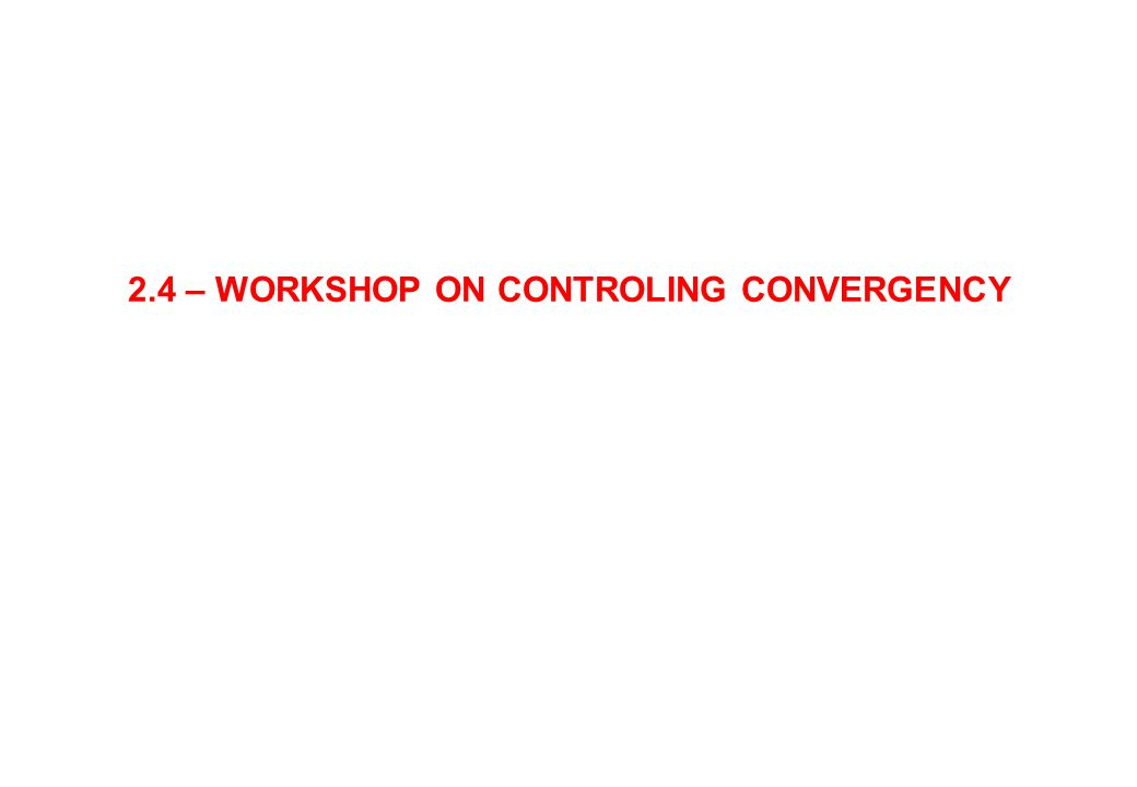 2.4 – WORKSHOP ON CONTROLING CONVERGENCY