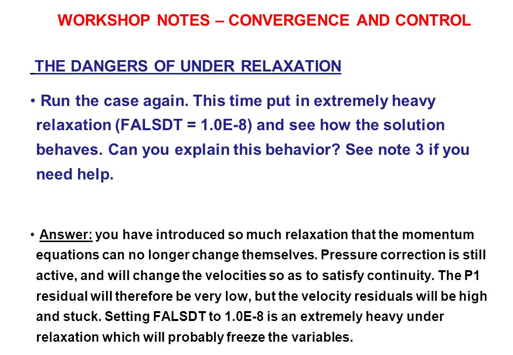 WORKSHOP NOTES – CONVERGENCE AND CONTROL