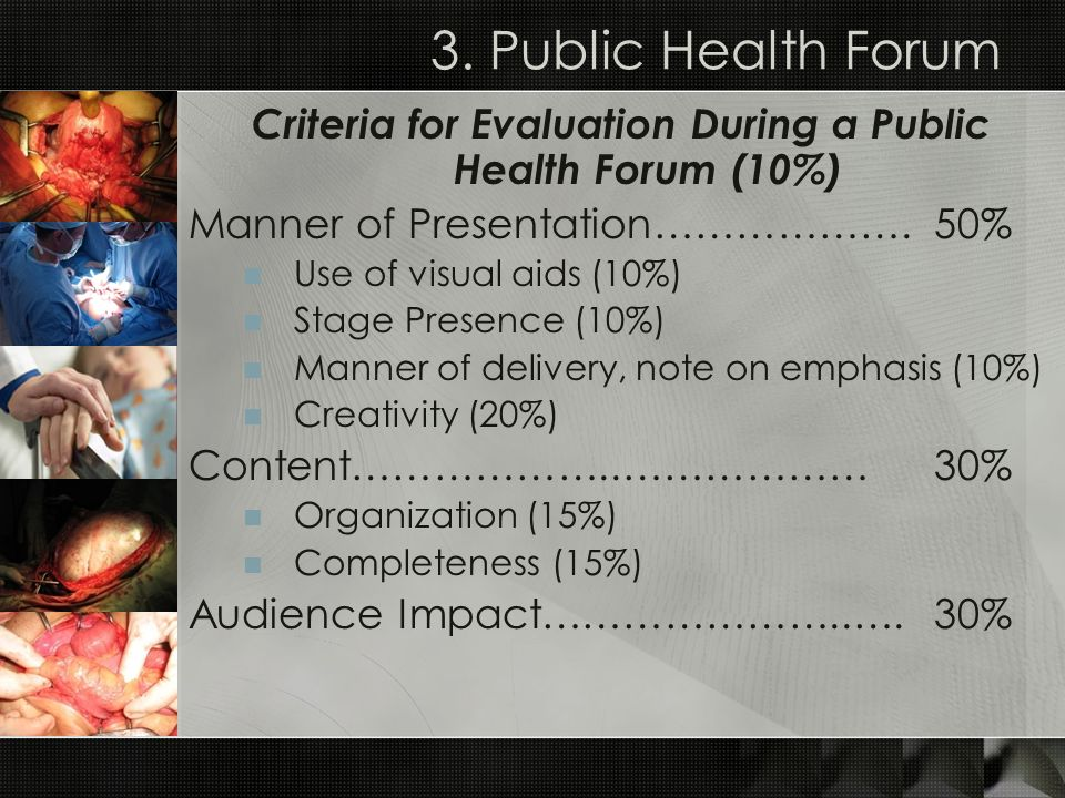 Criteria for Evaluation During a Public Health Forum (10%)