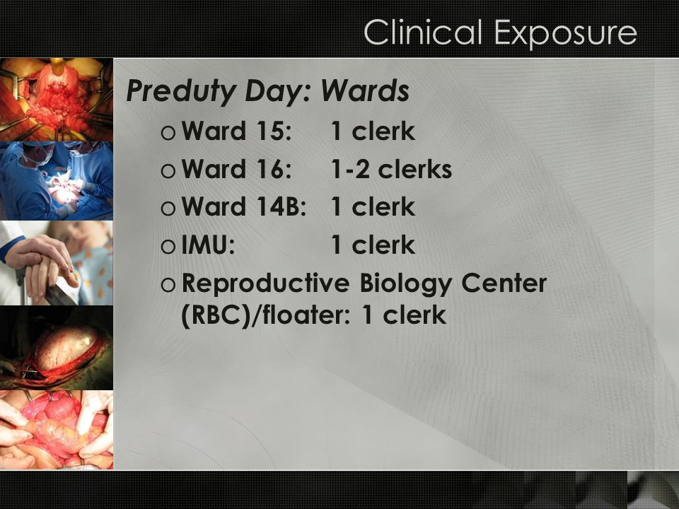 Clinical Exposure Preduty Day: Wards Ward 15: 1 clerk