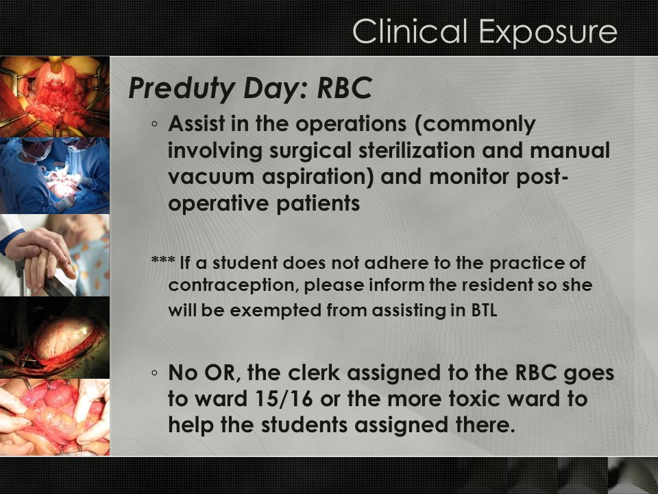 Clinical Exposure Preduty Day: RBC