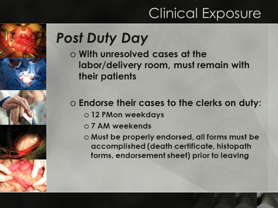Clinical Exposure Post Duty Day