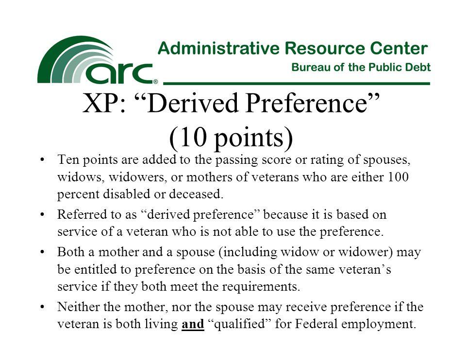 XP: Derived Preference (10 points)