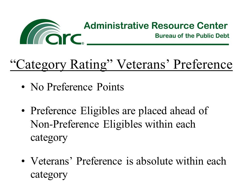 Category Rating Veterans' Preference