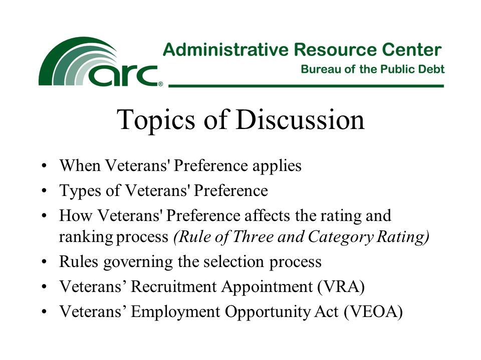 Topics of Discussion When Veterans Preference applies