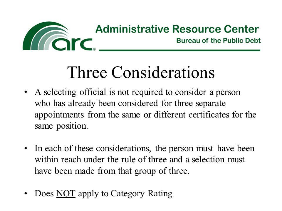 Three Considerations