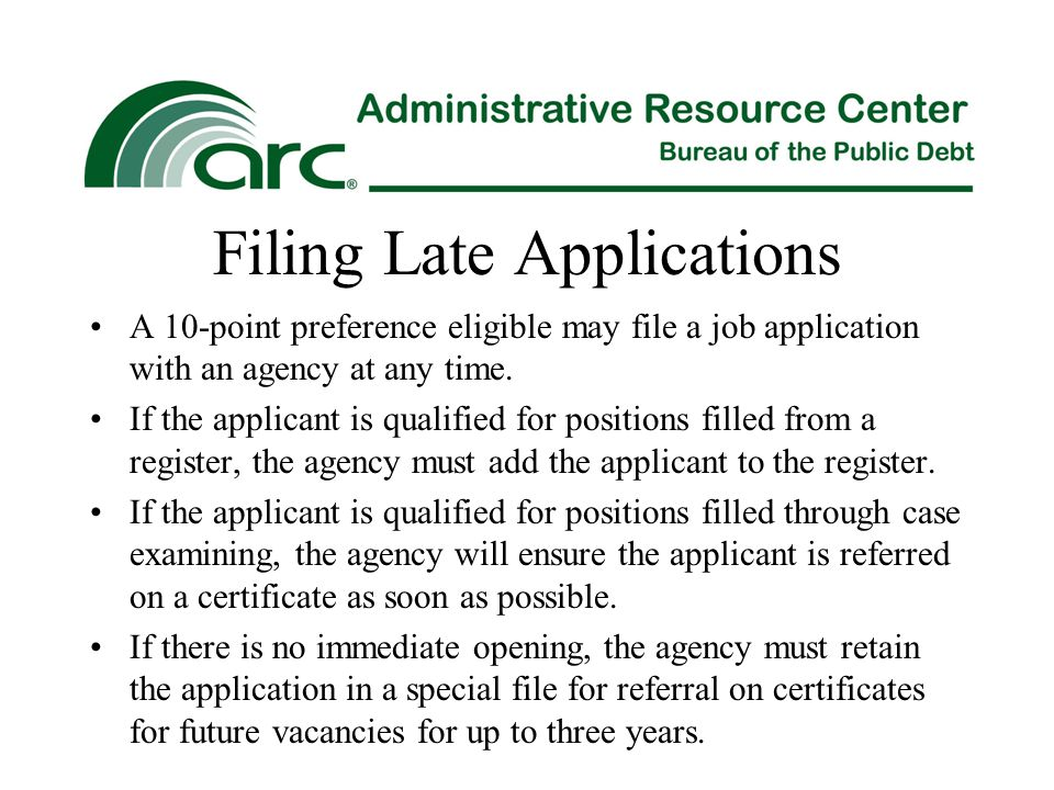 Filing Late Applications