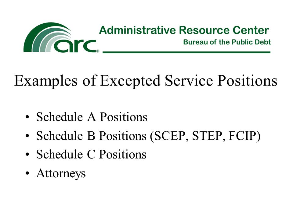 Examples of Excepted Service Positions