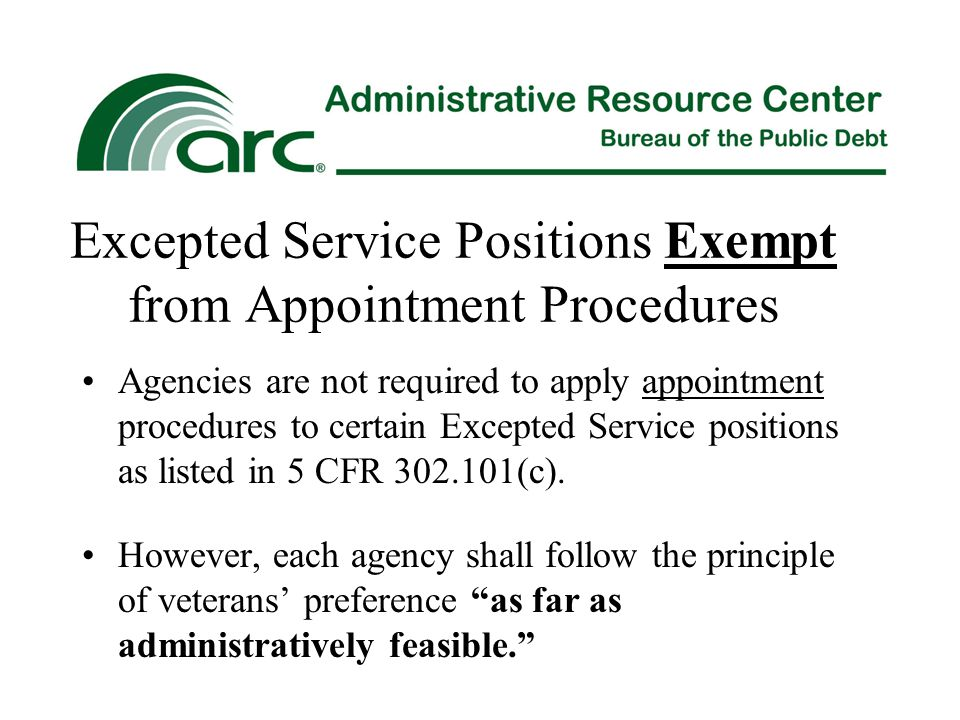 Excepted Service Positions Exempt from Appointment Procedures