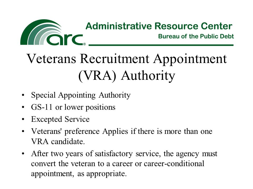 Veterans Recruitment Appointment (VRA) Authority