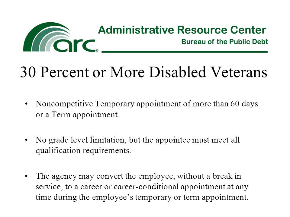30 Percent or More Disabled Veterans