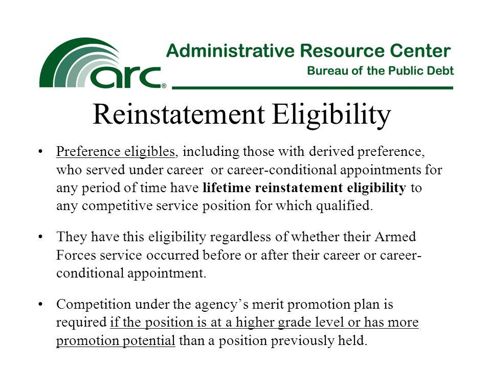 Reinstatement Eligibility